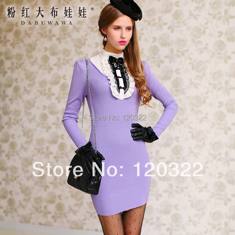 Original New Fashion 2014 Brand Spring and Autumn Purple Ruffle Long-Sleeve Cute Vintage Knitted Sweater Dress Women VestidosОдежда и ак�е��уары<br><br><br>Aliexpress