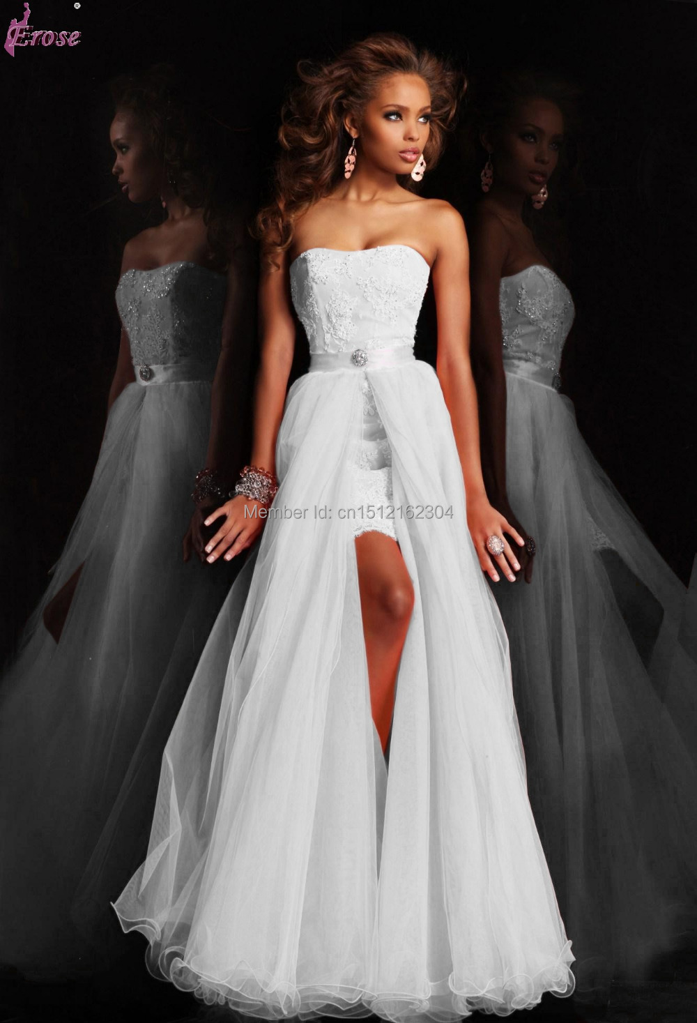 2015 new design short strapless appliques pure white for Wedding dress removable skirt