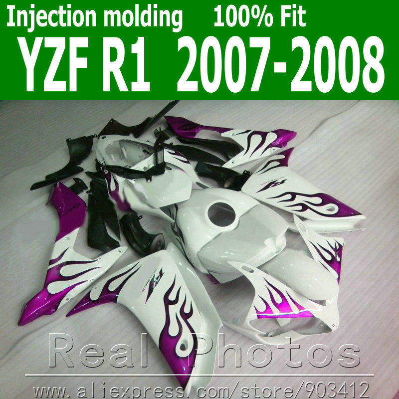 Injection molding plastic body kits for YAMAHA R1 fairing kit 2007 2008 purple flames in black fairings set YZF R1 07 08 NB91(China (Mainland))