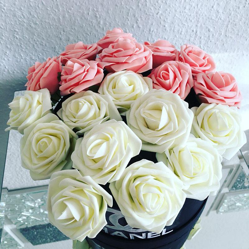 11 Colors 10 Heads 8CM Artificial Rose Flowers Wedding Bride Bouquet PE Foam DIY Home Decor Rose Flowers VB364 P15 0.5(China (Mainland))