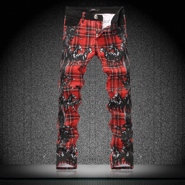 Korean Chollima print jeans male slim colored drawing flower pants trousers mens top brand factory connection(China (Mainland))