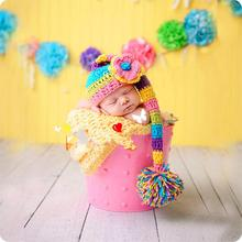 2016 Hot Sale Colorful Rainbow Knitting Hat Newborn Baby Photography Props Flower Cap For 0-3 Months Baby Clothes Girl Boy