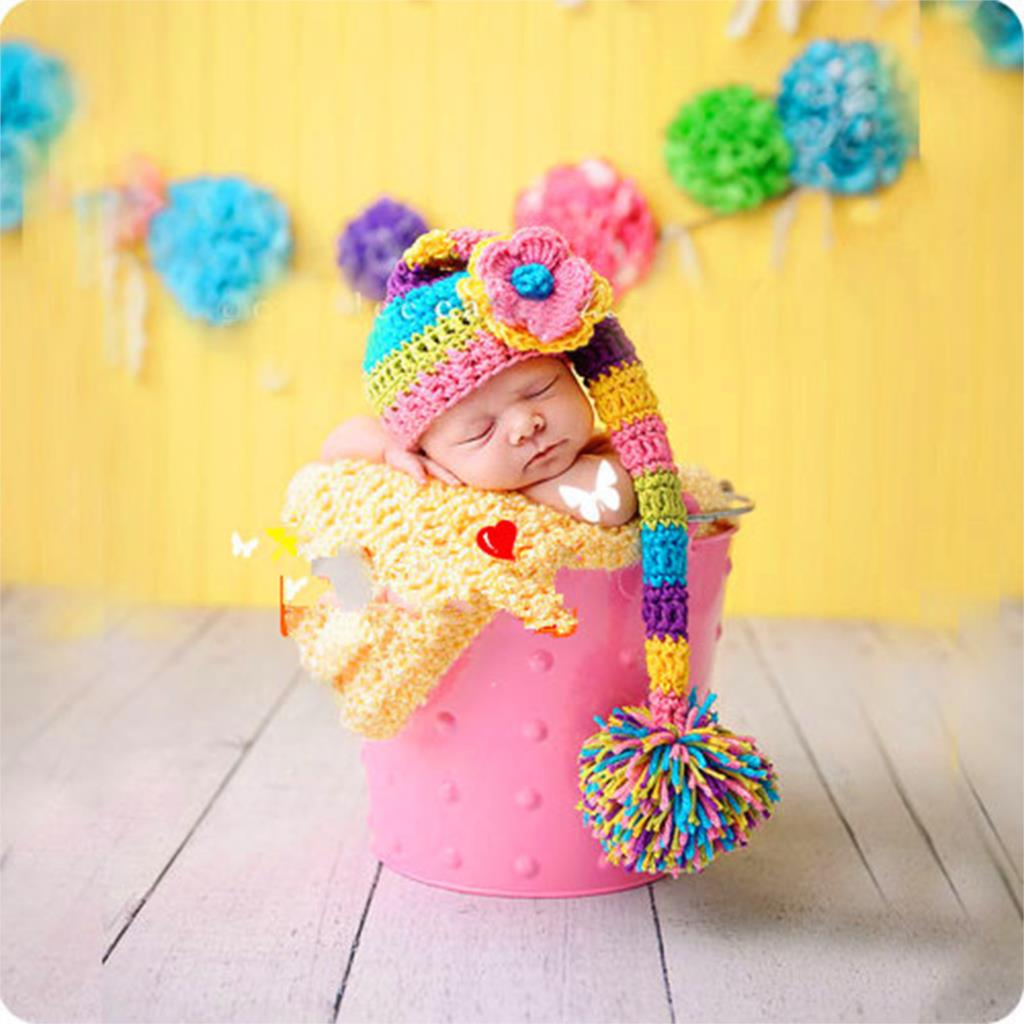 Colorful Rainbow Knitting Hat Newborn Baby Photography Props Flower Cap For 0-3 Months Baby Girl(China (Mainland))