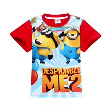 New 2015 boys Girls T Shirt Despicable Me 2 Minions Short Sleeve Baby Children T-shirts Tee Child Clothing