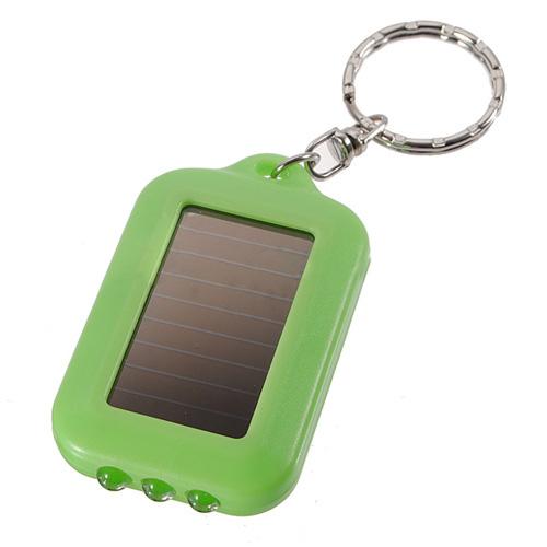 10X Mini Solar Power Rechargeable 3LED Flashlight Keychain - Green(China (Mainland))