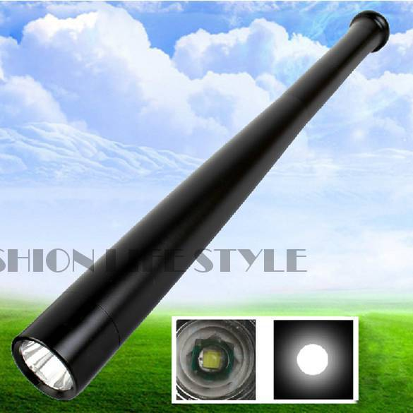 Free Shipping Aluminum Alloy Body Tactical Flashlight Baseball Bat Shaped Self Defense Flashlight 19029(China (Mainland))