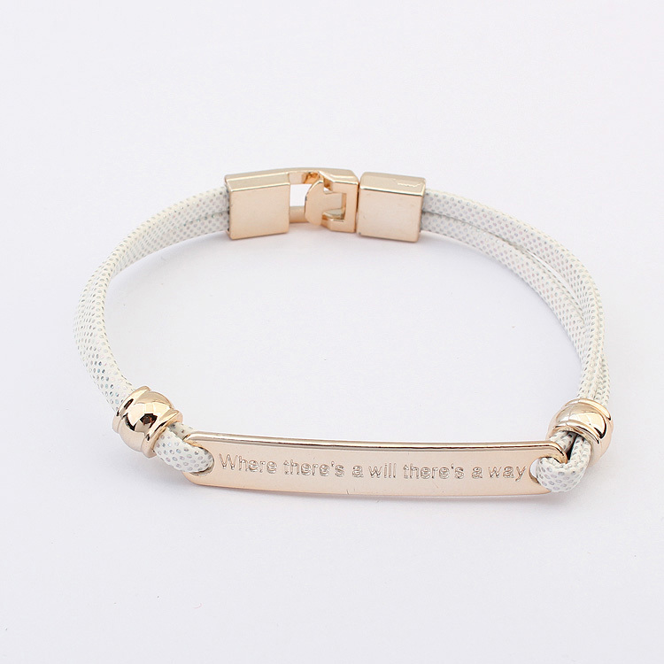 "Free shipping!2014 New european and american fashion simple Inscribe""Where there's a will there's a way""nameplate bracelet (China (Mainland))"
