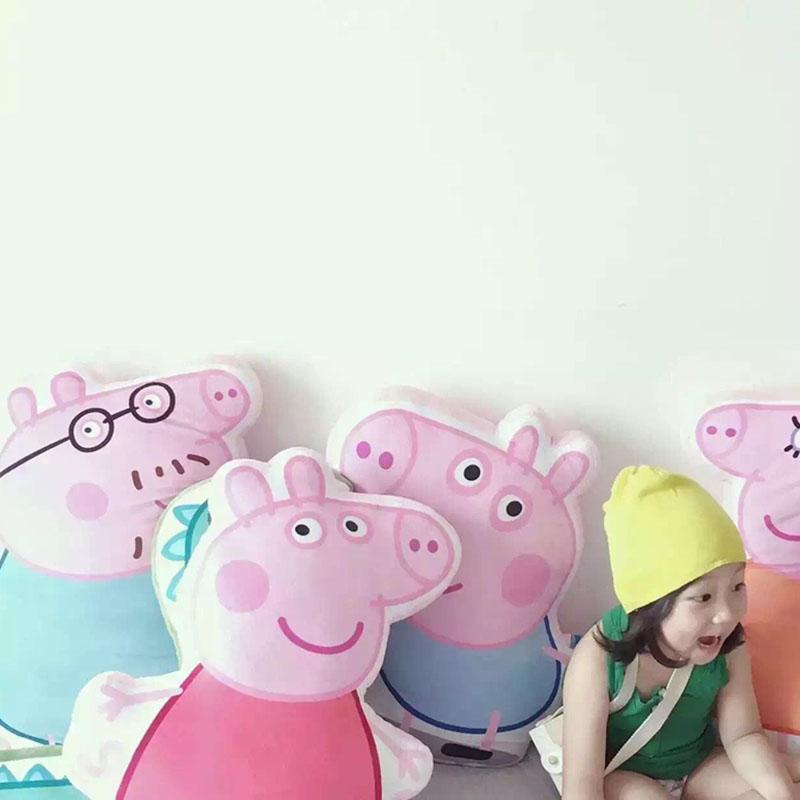 creative pig shape plush throw pillow pink pig George stuffed soft toy animal plush cushion home sofa decoration gift for kids(China (Mainland))