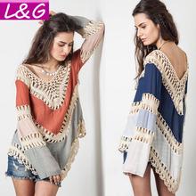 Summer Style 2015 Women Blouses Multicolor Vneck Lace Crochet Kimono Blouse Plus Size Blusa Feminina Shirt Tops Ropa Mujer 40232(China (Mainland))