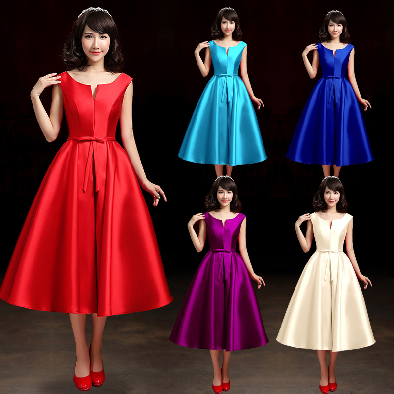 red tea length evening prom dress 2016 fashion spring quality satin custom made sweet bow 14 colors party formal dress(China (Mainland))