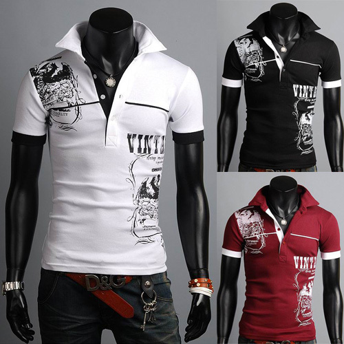 Mens Summer Casual Shirt Slim Fit Trend Fashion POLO Shirt 3 Colors XS S M L D444(China (Mainland))