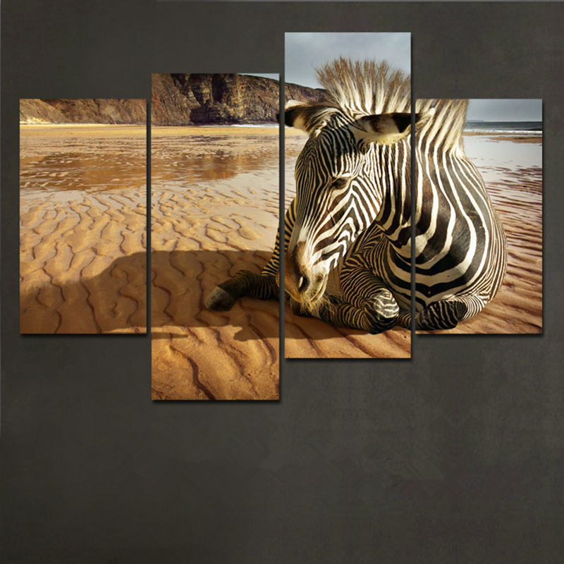 4 Piece Animals On The Beach Canvas Painting Modern Home Decor Living Room Wall Art Picture Canvas Print HD Print Oil Painting