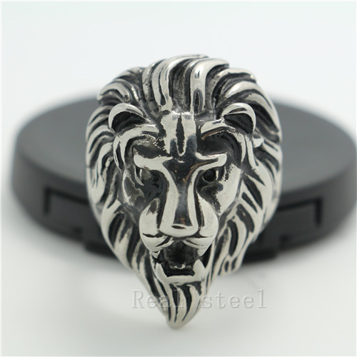 Fashion Mens Jewelry Big Cool Rings The King of Lion Animal Shape Ring 316L Stainless Steel Ring Gothic Style Lion Head Rings