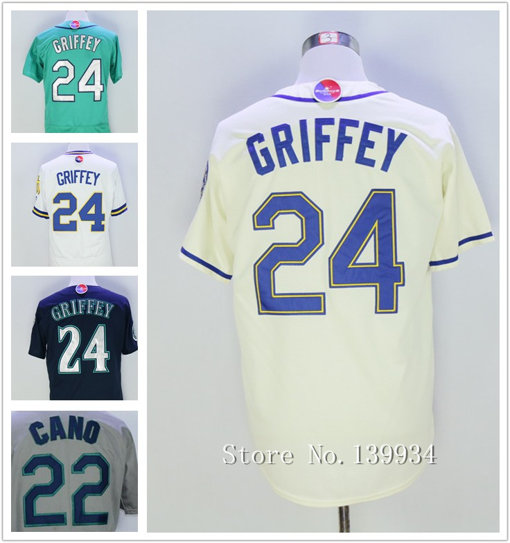 Men's #22 Robinson Cano #24 Ken Griffey Jerseys Stitched Teal Blue Cream White Jerseys 2016(China (Mainland))