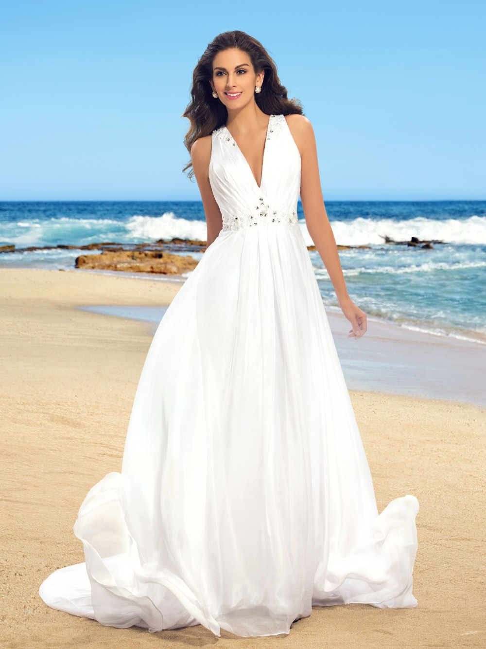Summer style beach boho wedding dresses 2016 cheap flutter Inexpensive beach wedding dresses