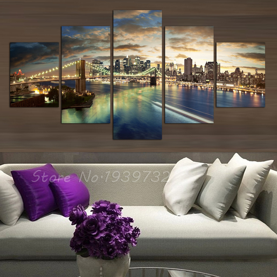 Free shopping 5 panels high quality home decor wall art for Quality home decor