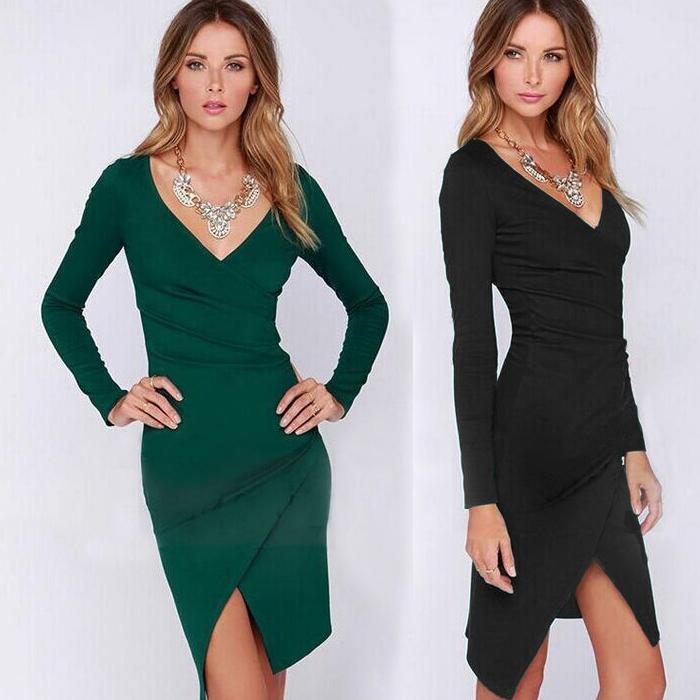 Autum Winter Women V neck Long Sleeved Irregular Design Split Dress Lady's bodycon Sheath Slim Club Dress Waist Wrinkled Q0144B(China (Mainland))