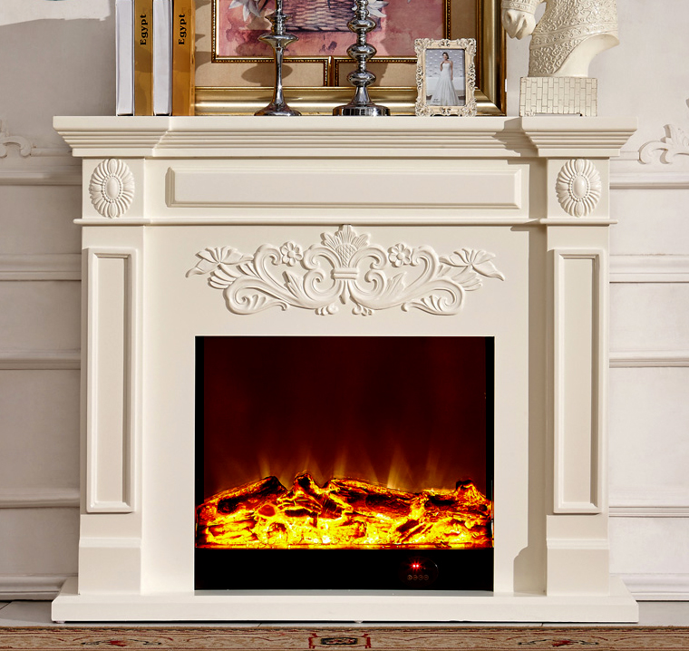 Wood Fireplace Mantel With Electric Fireplace Insert Warm Air Blower Room Heater Artificial Led