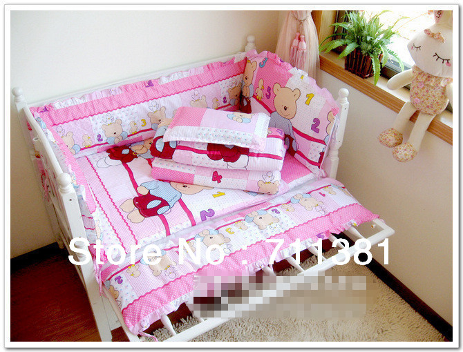 Free Shipping, 100% Cotton Lovely Pink Bear Baby Bedding Sets, Baby Crib Bedclothes,  Baby Bedding Bumper<br><br>Aliexpress