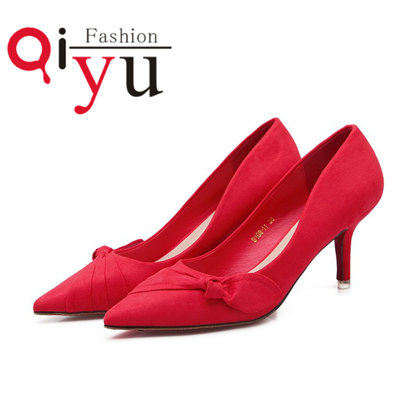 2016 Spring Sweet Style Shallow Mouth Casual Pump Women Bow Shoes Red Bottom Sexy Thin High Heels Ladies Pumps Shoes Pointed Toe<br><br>Aliexpress