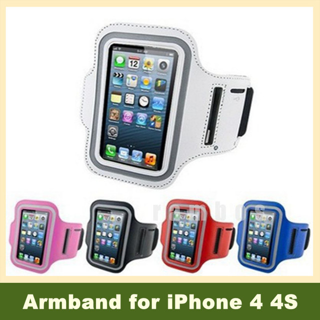 Newest 5 Colors Running Sports Gym Band Exercise Arm Cover Sports Cases for iPhone 4 4S with Key Holder