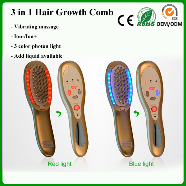 3 in 1 Electric USB Rechargeable Laser Hair Growth Massager Comb 3 Color LED Light Photon Therapy Hair Loss Treatment(China (Mainland))