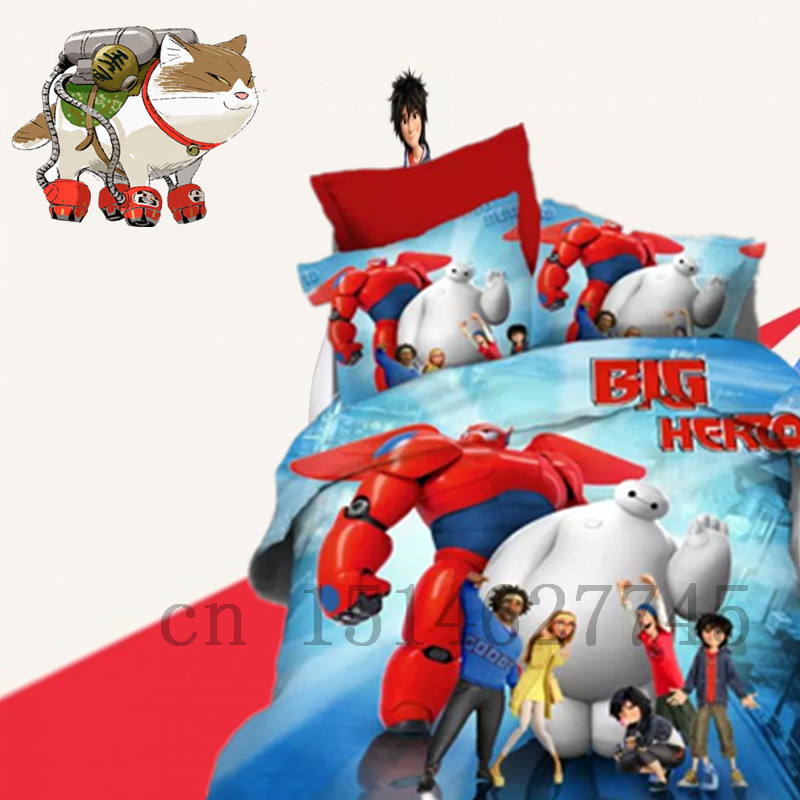 Blue BIG HERO 6 Robot HIRO Boys Characters Movies Twin Queen King Kids CHILDRENS 4-Piece DUVET SET QUILT COVER Single Double Bed(China (Mainland))