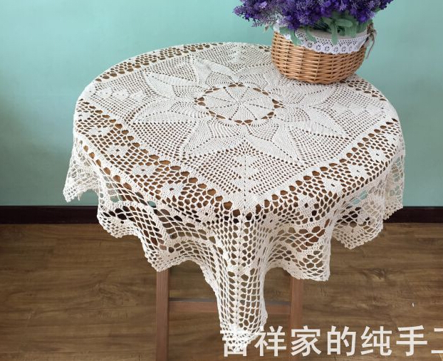 Handmade Crochet Flowers Beige 90cm Round Tablecloths Cotton knit Table cloth universal decorative vintage Doilies drape(China (Mainland))