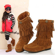 2015 new fashion Kids Children leather shoes Girls cotton padded shoes Children winter boots fringed shoes(China (Mainland))