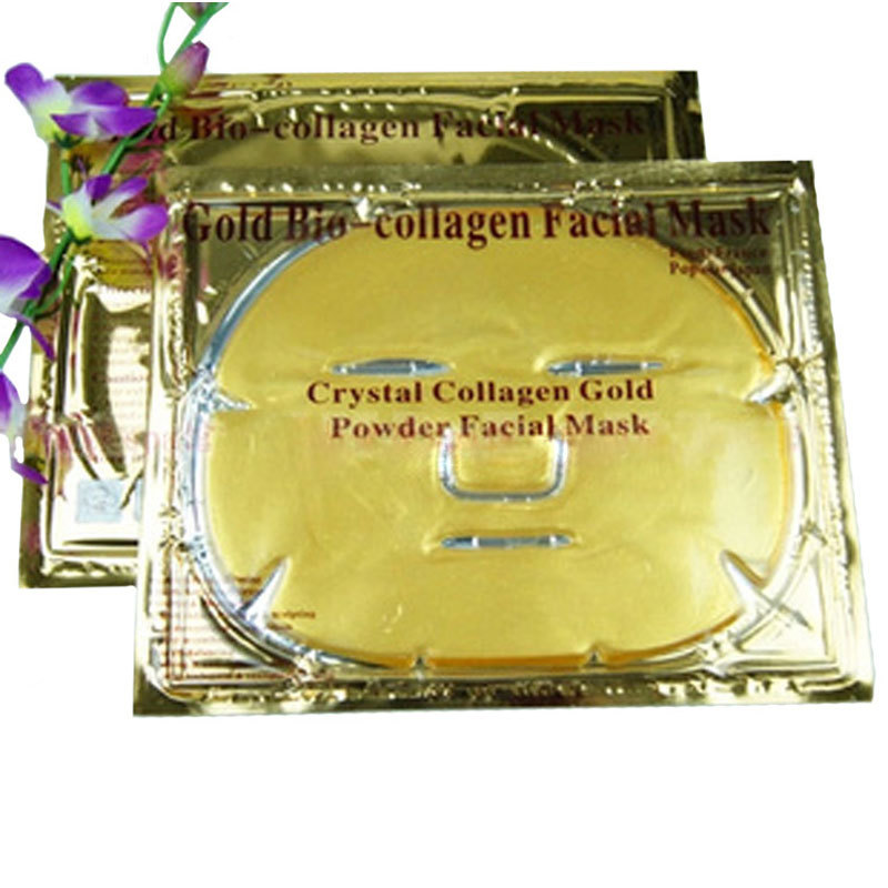 2pc/lot New Arrive Gold Crystal Collagen Face Mask Hot Sale Face Mask Face Care Product(China (Mainland))