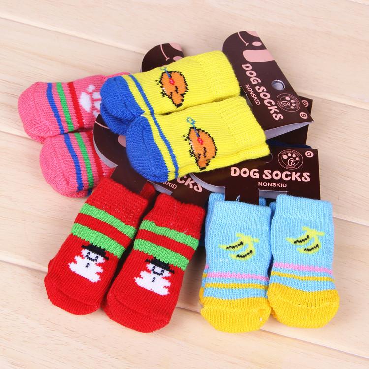 2015 new pet socks indoor Pet Dog Soft Cotton Anti-slip Knit Weave Warm Sock Skid Bottom 4 piece/lot(China (Mainland))