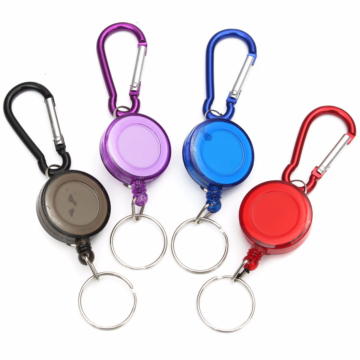 High quality mulitifunctional Multicolor Badge Spreader Carabiner Recoil Retractable Reel Strap Belt Clip Key Chain(China (Mainland))