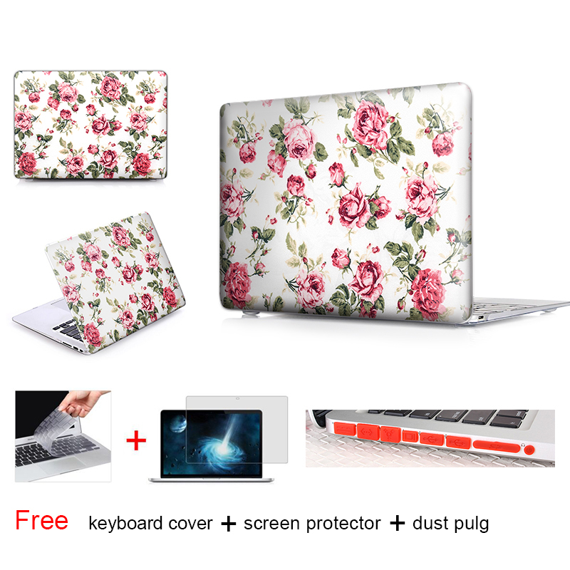 Retro Red Rose Fabric Laptop Bag Case For Macbook Air 13 Case Pro Retina 12 13 15 New Macbook Air 11.6 12 13 Inch Crystal Cover(China (Mainland))