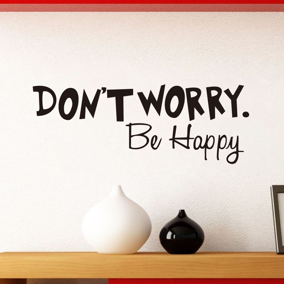 DCTOP DON'T WORRY BE HAPPY Wall Sticker Quote Art Funny Cheerful Decal Decorative Vinyl Stickers Home Decor(China (Mainland))