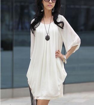Korean Women Summer Dress Graceful Short Sleeve Chiffon Casual Dress Mini Pink White Black Plus Size M L XL Free Shipping 0023