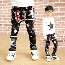 3-11T Fashion boys clothes jeans pants Spring Autumn New 2015 Geometric Flag star denim pants Cross trousers unisex clothing(China (Mainland))