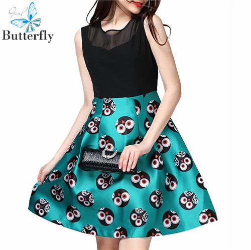 New 2015 women summer dress casual women clothing A-line patchwork green print sleeveless hollow out empire sexy dress BG-2756(China (Mainland))