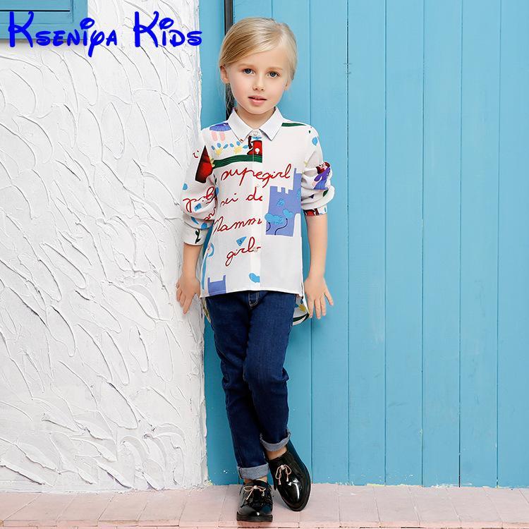 Children Child Baby Girl Kids Graffiti White Shirt White School Blouse For Girls Clothing Clothes Fashion Kids Graffiti Shirt