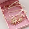pearl beads headbands bridal headdress handmade crystal tiara headband bridal wedding hair accessories boho chic