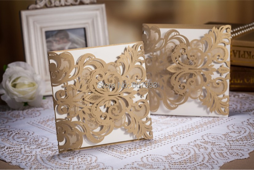 Elegant laser cut floral Invitation card for wedding,marriage customized and personalized printing invitation card, 50 Sets(China (Mainland))