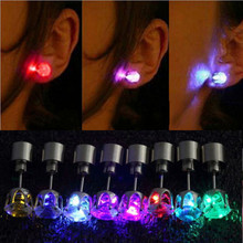 2015 hot cool fashion unique design LED Earrings Light Light Up Bling Ear Studs Dance Party Accessories Women Drop Shipping(China (Mainland))