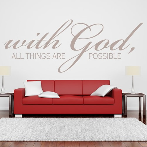 with god all things are possible wall sticker religious vinyl wall art in wall stickers from. Black Bedroom Furniture Sets. Home Design Ideas