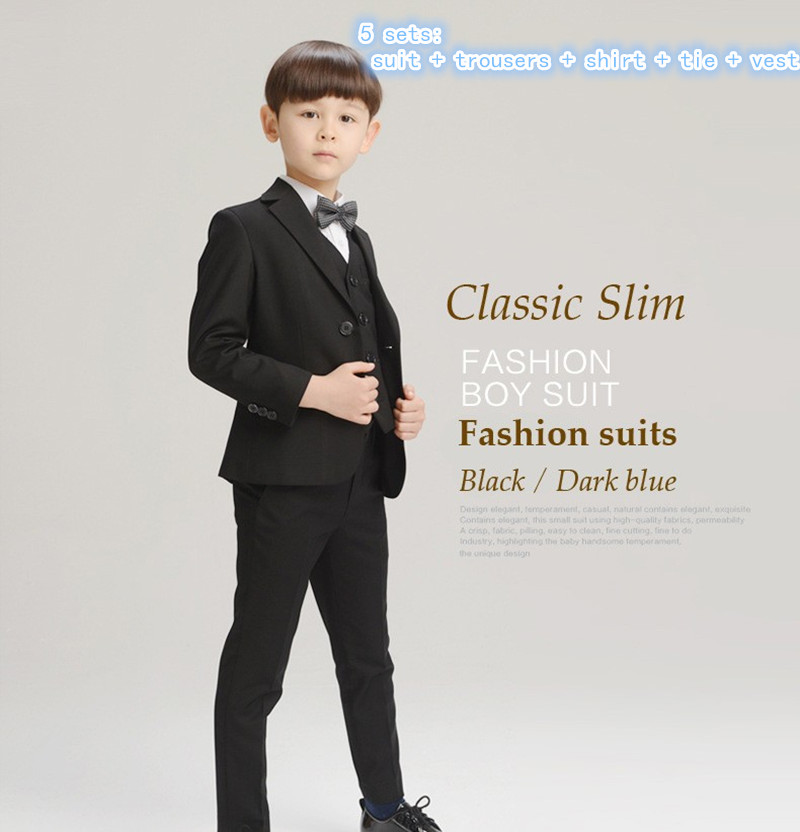 2017 New Boys Formal Suits for Weddings Brand England Style 3-14T Man Child Plaid Formal Party Tuxedos Boys Formal Suits