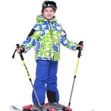 2016 New Children's Snow Ski Suits Baby Boys Girls Outdoor Wear Hooded Jackets+Bandage Pants Kids Winter Warm Sport Coat Sets(China (Mainland))