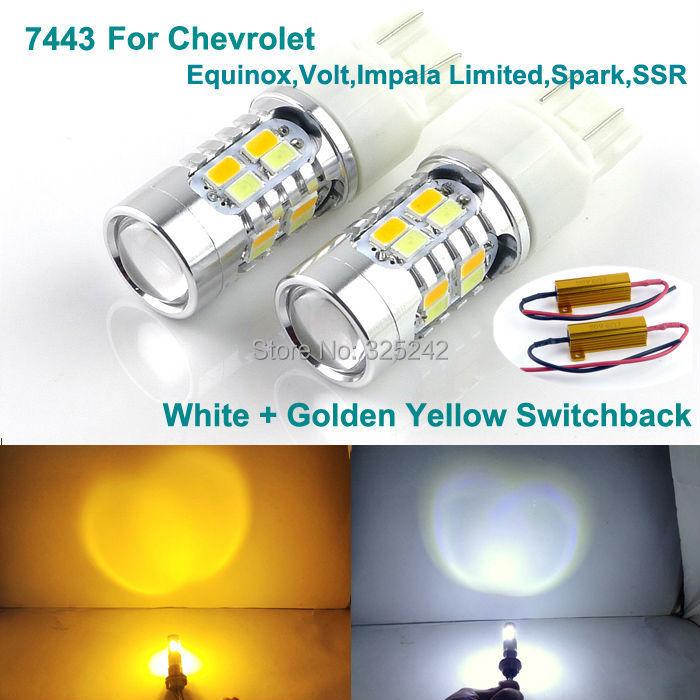 Excellent 7443 Dual Color Switchback LED DRL Parking+front Turn Signal light For Chevrolet Equinox,Volt,Impala Limited,Spark,SSR<br><br>Aliexpress