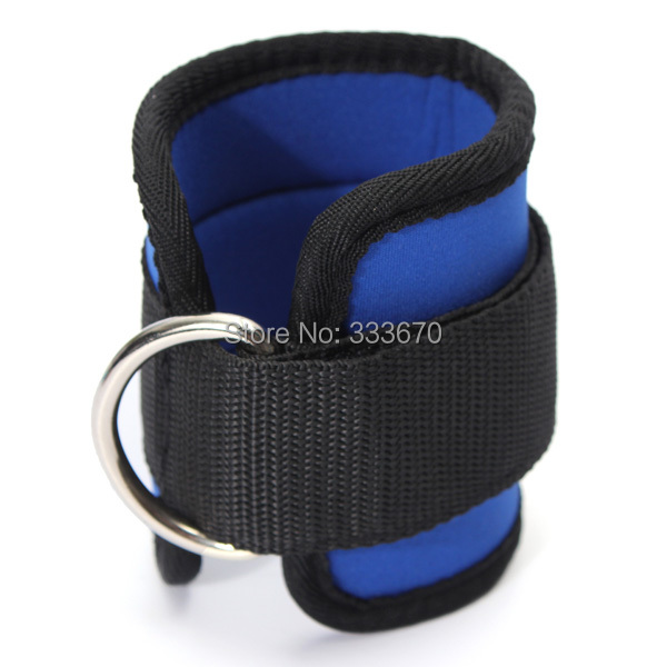 Black Blue Ankle Anchor Strap D-ring Multi Gym Cable Attachment Thigh Leg Pulley Strap Lifting Fitness Exercise Tubing Strength(China (Mainland))