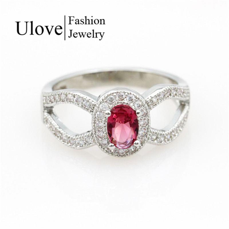 Rings Vintage Jewelry New Women Big Ring Color Stone CZ Diamond Sapphire Parure Bijoux Femme Chinese Silver Jewellery Ulove J573(China (Mainland))