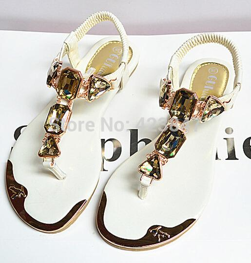 Free shipping the new summer brand shoes fashion diamond wrist after Strappy clip toe ladies sandal flat metal summer sandals(China (Mainland))