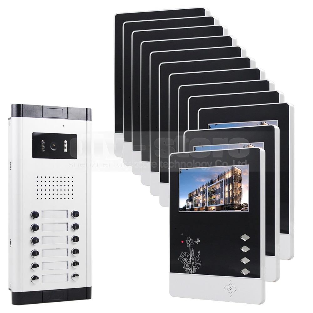 12 x 4.3inch Monitors 4-Wired Apartment Video Door Phone Audio Visual Intercom Entry System IR Camera For 12 Families(China (Mainland))