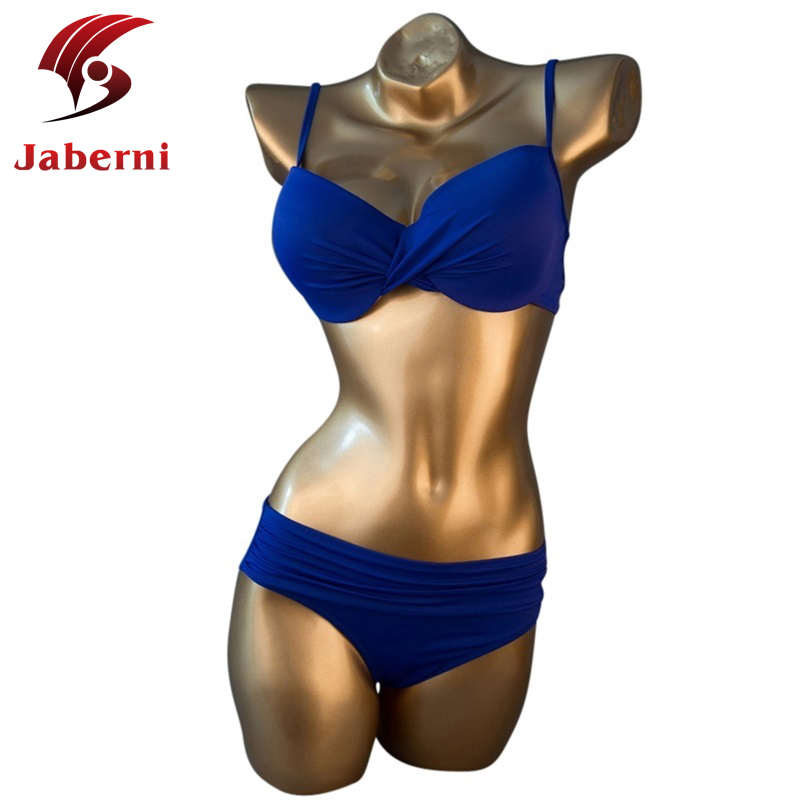 Large Size L 4XL Blue Sheer Swimwear High Waisted Female Swimsuit Sexy Beach Top Bottom Women